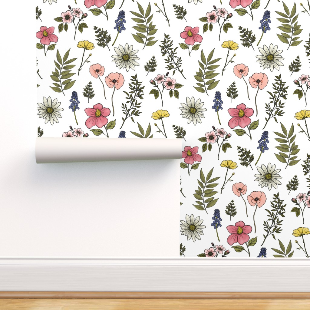 Peel And Stick Removable Wallpaper Baby Girl Floral Nursery Summer