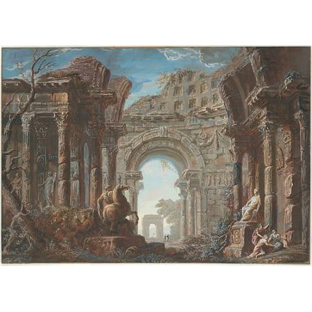 "Architectural Capriccio with a Monumental Arch Poster Print by Jean Nicolas Servandoni (Italian Florence 1695  ""1766 Paris) (18 x"