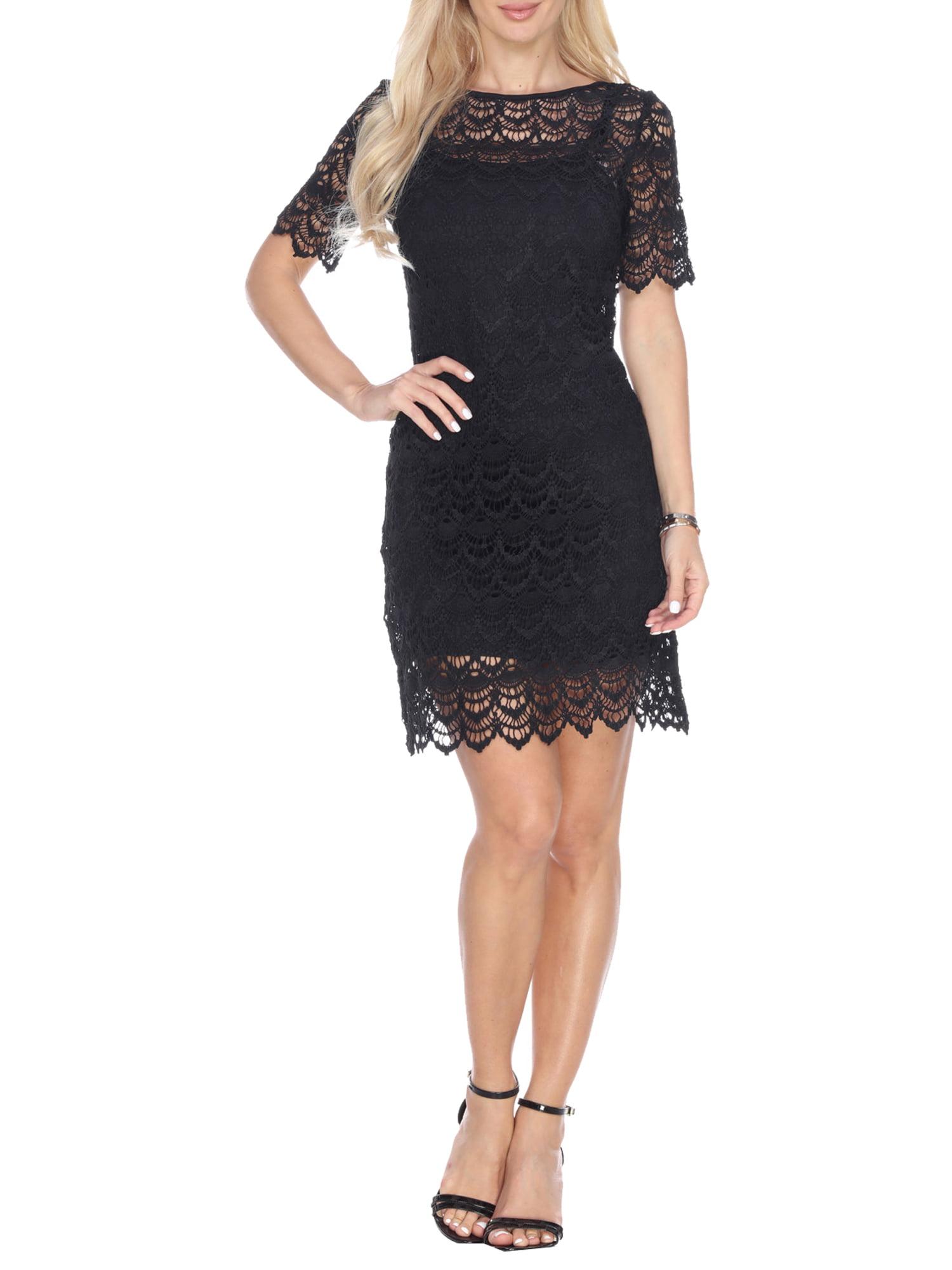 Women's Crochet Lace Overlay Mini Dress