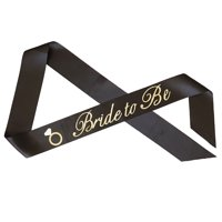 """Sparkling """"Bride to Be"""" with Diamond Ring Bachelorette Sash - Black with Gold Glitter Cursive Font"""
