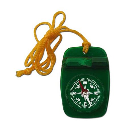 Skywalker Compass with Safety Whistle and Lanyard, Green - Glow In The Dark Lanyard