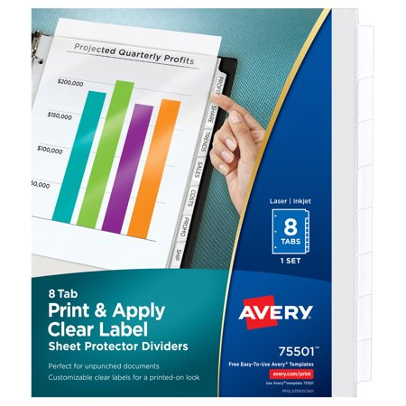 Avery Index Maker Translucent Dividers (Avery Print & Apply Clear Label Sheet Protector Dividers, Index Maker Easy Peel Printable Labels, 5 White Tabs (75501) )