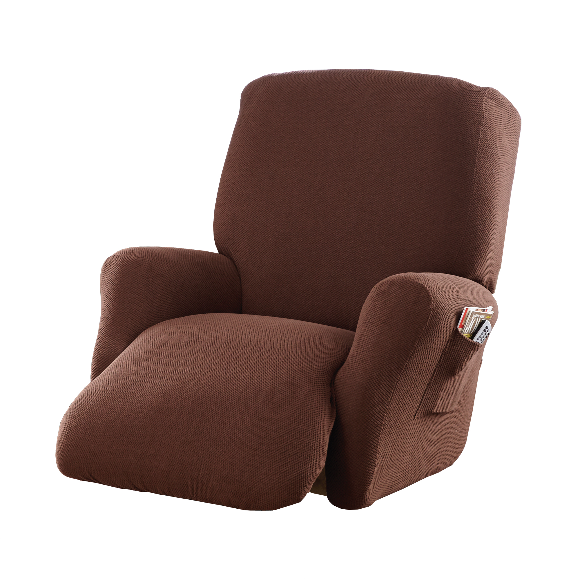 Genial Mainstays Stretch Pixel 4   Piece Recliner Chair Furniture Cover /  Slipcover, Costa Brown   Walmart.com