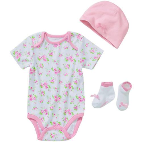 Lovespun Newborn Baby Girls' 3 Piece Creeper, Sock, and Hat Gift Set