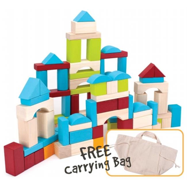 Brybelly TCDG-002 100 Piece Wooden Block Set with Carrying Bag by Brybelly