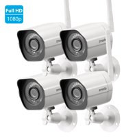 Zmodo Wireless Security Camera System (4 pack) Smart Full HD Outdoor WiFi IP Cameras with Night Vision
