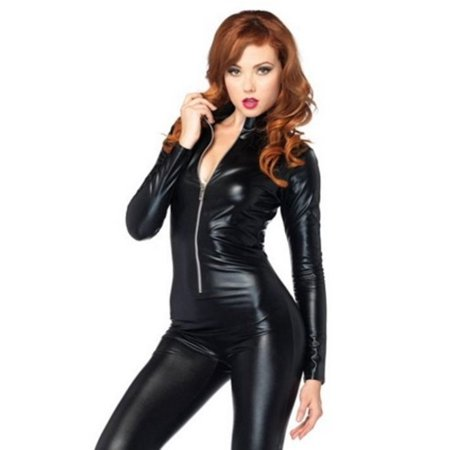 Leg Avenue Costumes Wet Look Zipper Front Cat Suit, Black, Small (Can Costumes)
