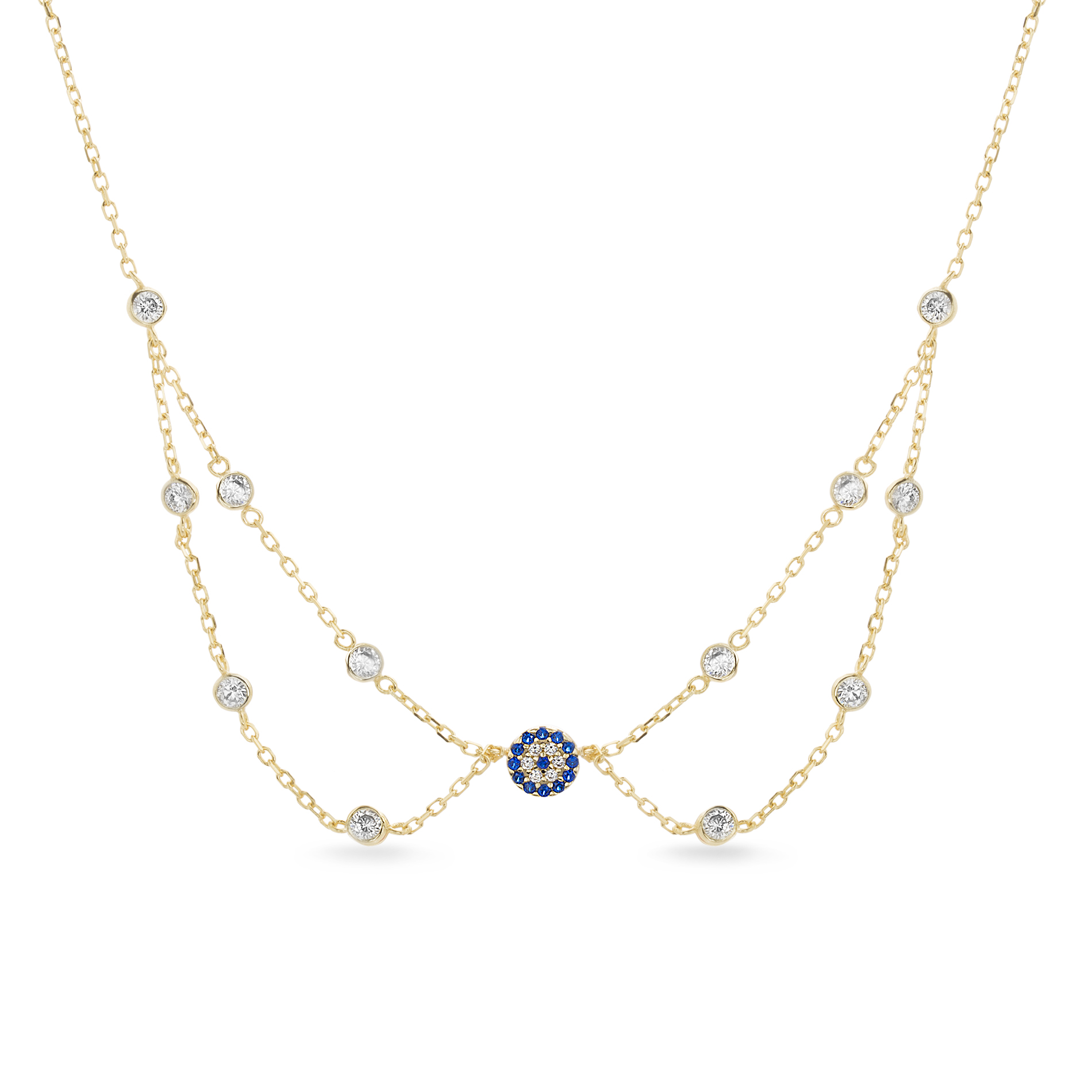 Cubic Zirconia Evil Eye Layered Choker Necklace in Yellow Gold over Sterling Silver