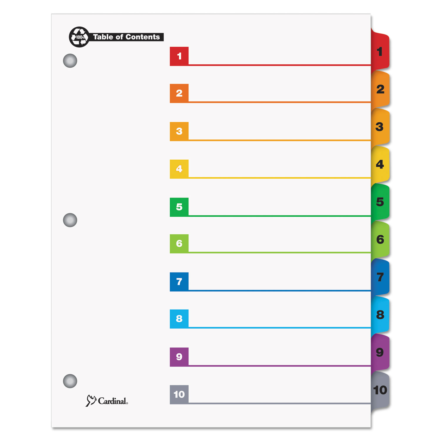 image about Printable Dividers known as Cardinal Onestep Printable Desk Of Contents Dividers - 10 X Divider - Revealed1 - 10 - 10 Tab[s]/mounted - 9\