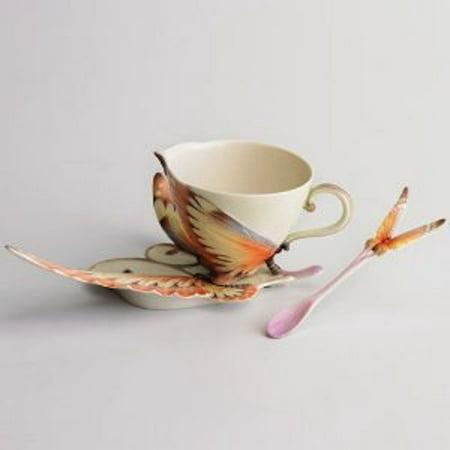 - Franz Porcelain - Cup, Saucer & Spoon Set - Papillon Butterfly