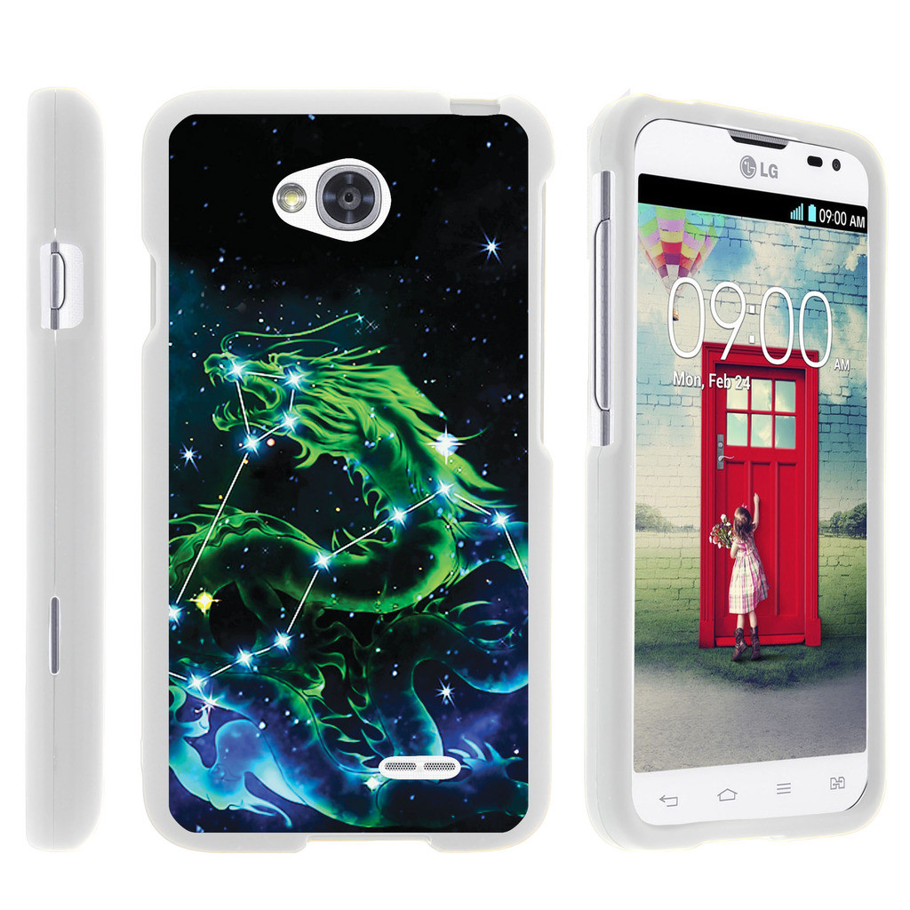 LG Optimus L70, Ultimate 2, Optimus Exceed, [SNAP SHELL][White] Hard White Plastic Case with Non Slip Matte Coating with Custom Designs - Dragon Constellation Stars