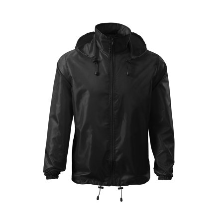 Windbreaker Rain Jacket Hooded - IF FOR MEN: SIZING RUNS SMALL GET THE NEXT SIZE UP - Full Zip - Adjustable Draw Cord Two Front Pockets - Packable In Its Own Pocket](Design Your Own Letterman Jacket)