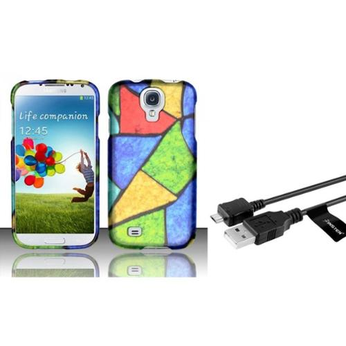 Insten For Samsung Galaxy S4 i9500 Rubberized Design Case - Acrylic Colors (with USB cable)