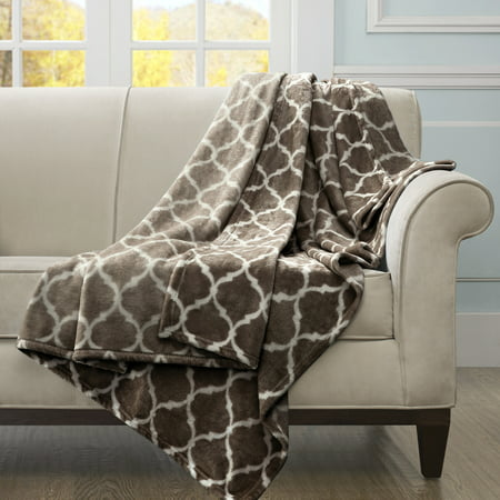 """60""""x70"""" Oversized Ogee Throw Blanket Brown"""