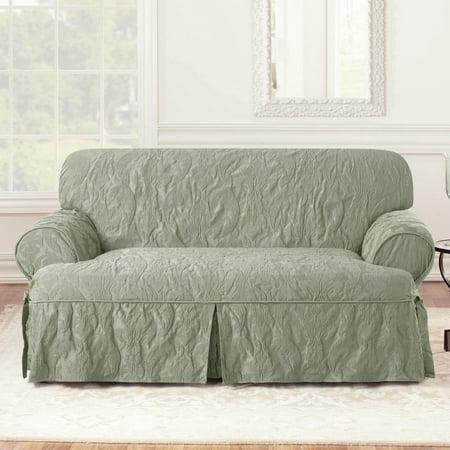 Sure Fit Matele Damask 1 Piece T Cushion Kick Pleat Loveseat Slipcover