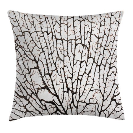 Old Forest Decor Throw Pillow Cushion Cover, Cracked Curly Coral Branch Like Earth Surface Tree of Life Nature Woods Theme, Decorative Square Accent Pillow Case, 18 X 18 Inches, Beige, by Ambesonne ()