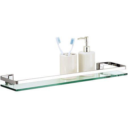 Organize It All Mounting Bathroom Glass Shelf with Chrome Finish and Rail