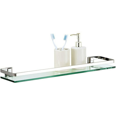 - Organize It All Mounting Bathroom Glass Shelf with Chrome Finish and Rail
