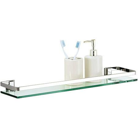 Organize It All Mounting Bathroom Glass Shelf with Chrome ...