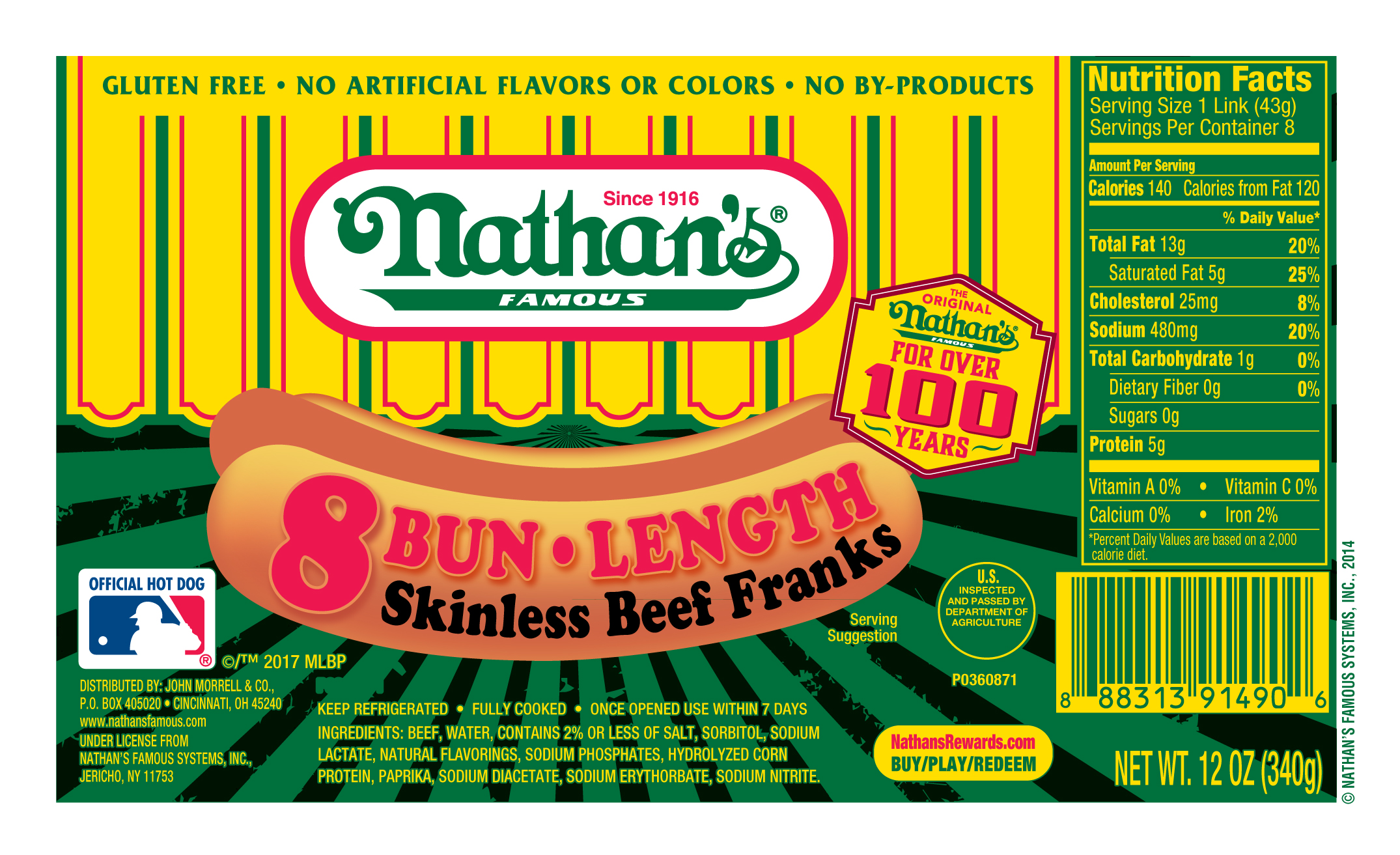 nathan s famous original all beef bun length skinless franks