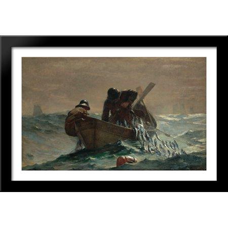 The Herring Net 40x26 Large Black Wood Framed Print Art by Winslow Homer