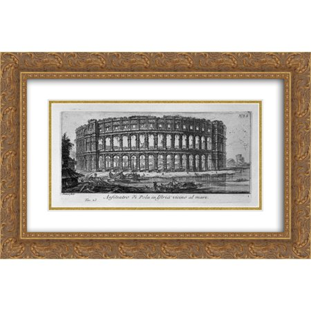 Giovanni Battista Piranesi 2x Matted 24x16 Gold Ornate Framed Art Print 'Arch of Drusus and the door of St Sebastian in (8 Deep Arch Door)