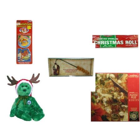 Christmas Fun Gift Bundle [5 Piece] - Xmas Ornamentbooks: Grandfather's Nativity, Reindeer - Snow-Tex Sparkling  Roll 36