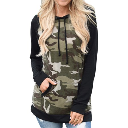 Cyber Monday Deals Clearance! Women's Long Sleeve Camouflage Print Pullover Hooded Sweatshirt, Hoodies Pullover Sweatshirt with Pockets for Women, Casual Loose Fit Shirt Tops Gift for Juniors, S-XL Camo Hooded Pullover