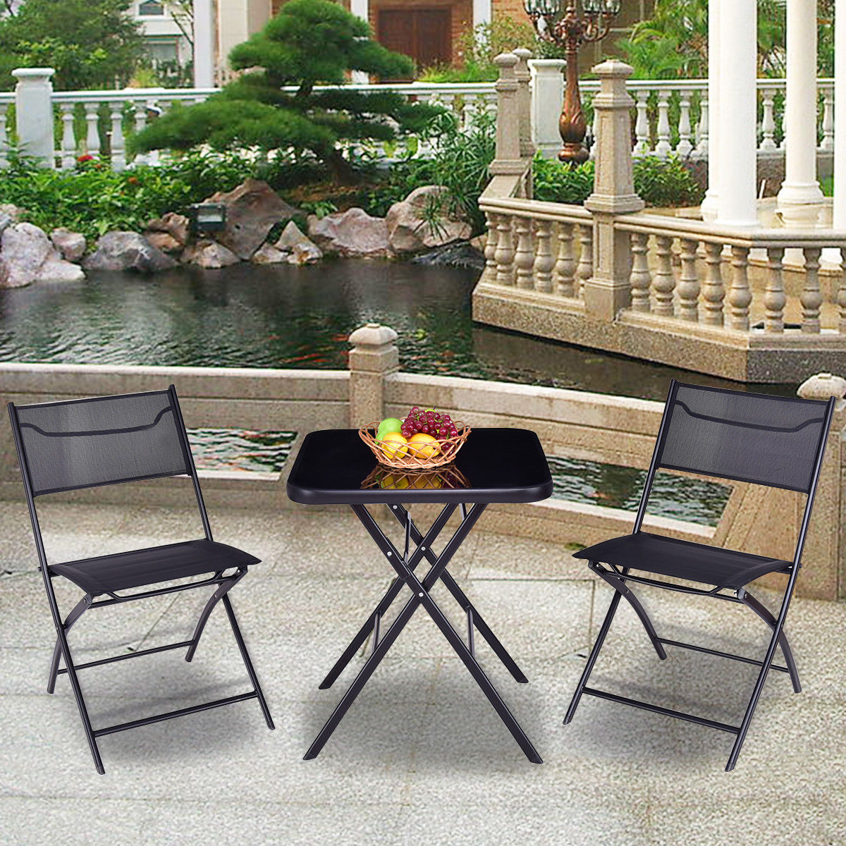 Gymax Folding 3PC Set Square Table And Chair Garden Outdoor Patio - image 1 de 7