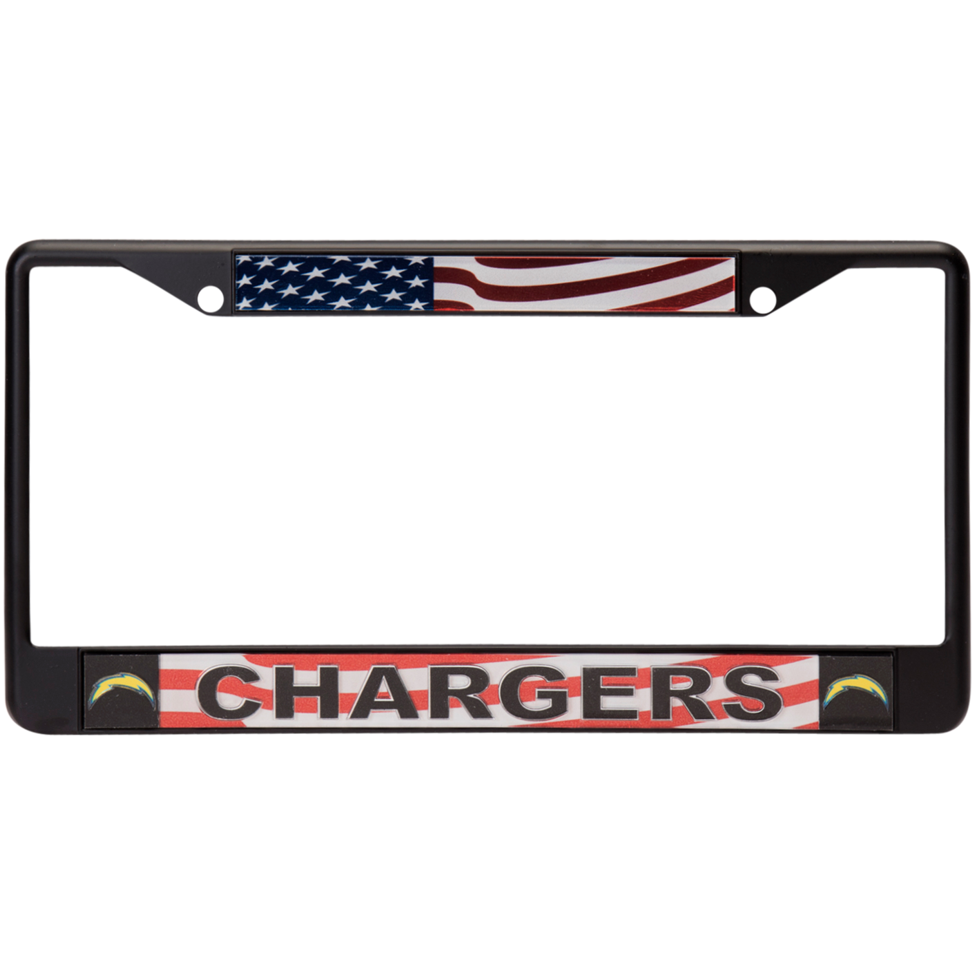 Los Angeles Chargers Acrylic USA Flag License Plate Frame - No Size