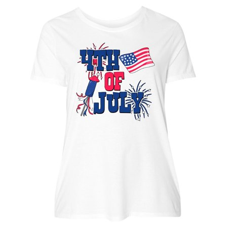 03e087fc12a Inktastic - 4th of July with Fireworks American Flag and Rocket Women s  Plus Size T-Shirt - Walmart.com