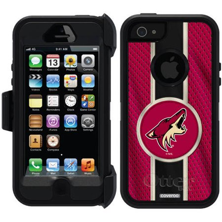 Phoenix Coyotes Jersey Stripe Design on OtterBox Defender Series Case for Apple iPhone 5 5s by