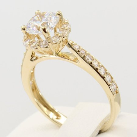 1.75 Ct 14K Real Yellow Gold Round Cut with Pave Set Side Stones Illusion Halo Setting Fancy Engagement Wedding Propose Promise Ring