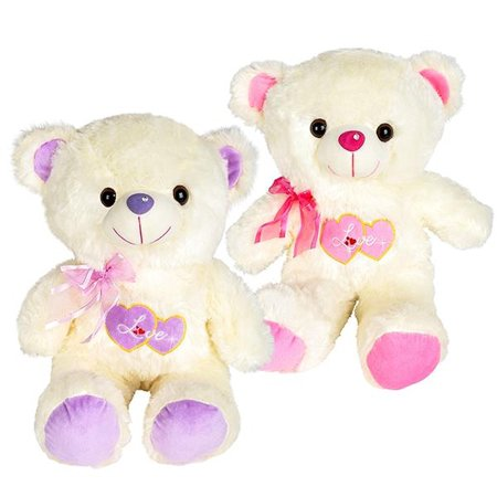Heart Love Themed Embroidered Large Plush Stuffed Teddy Bear - Embroidered Stuffed Animals