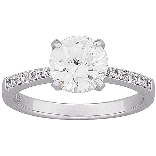 4 Carat T.G.W. Round CZ Engagement Ring in Sterling Silver