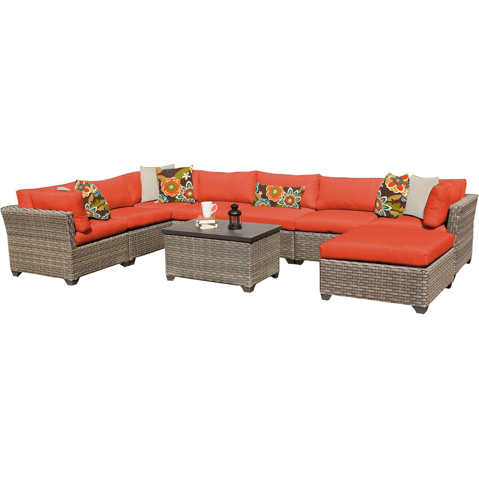 Hampton 9 Piece Outdoor Wicker Patio Furniture Set 09b