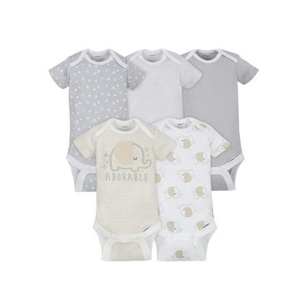 Gerber Baby Boy or Girl Gender Neutral Onesies Short Sleeve Bodysuits, 5-Pack Guard Infant Onesie