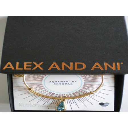 (Alex and Ani March Birth Month Charm Bangle With Swarovski Crystal Teardrop Shape Rafaelian Gold)