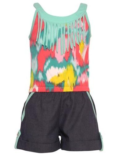 Little Girls Seafoam Tie Dye Print Fringed Detail Sleeveless Romper 5