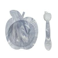 Kushies SiliBowl Silicone Bowl & Spoon Set Grey Marble