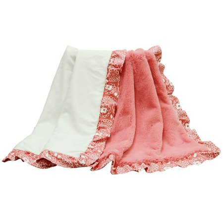 Gia Coral Pink and White with Floral Print Ruffle Reversible Velour Blanket, Made of a high-pile coral velour reversing to a white satin By The Peanut Shell Ship from (Velour Satin)