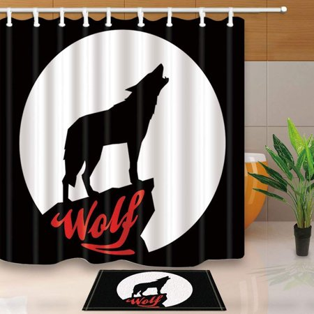 ARTJIA Zoo Bath Curtain Artistic Graphic Design Coyote ...