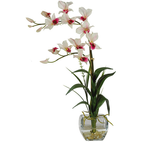 Dendrobium with Glass Vase Silk Flower Arrangement, White