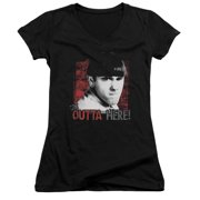 The Three Stooges Get Outta Here Juniors V-Neck Shirt