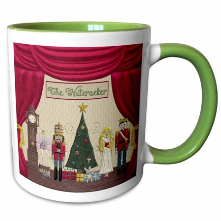 3dRose Nutcracker Prince, Sugar Plum Fairy, Mouse King, Snow Queen, Clock - Two Tone Green Mug, 15-ounce - Sugar Plum Fairy Dress