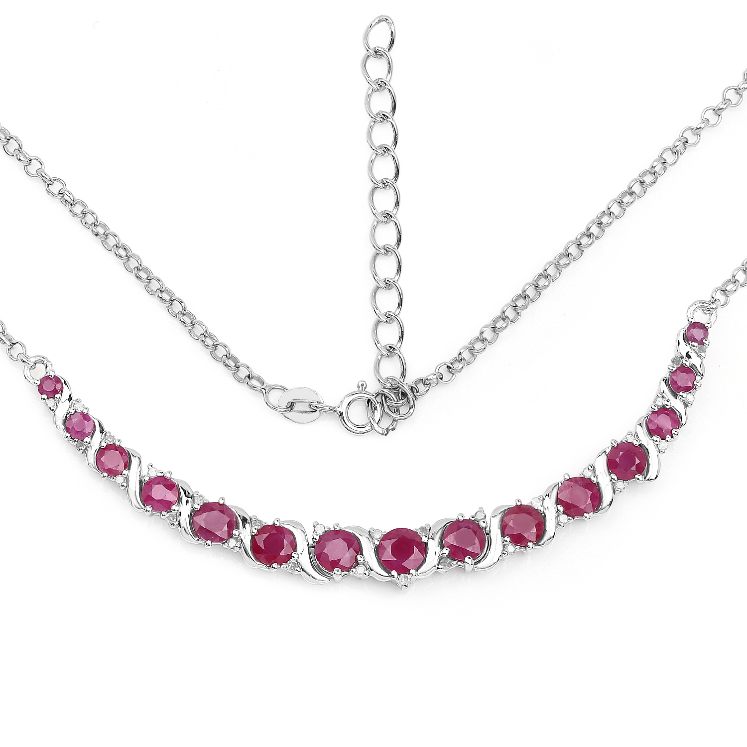 5.09 ct. Genuine Ruby and White Diamond Sterling Silver Necklace by DAZYLE