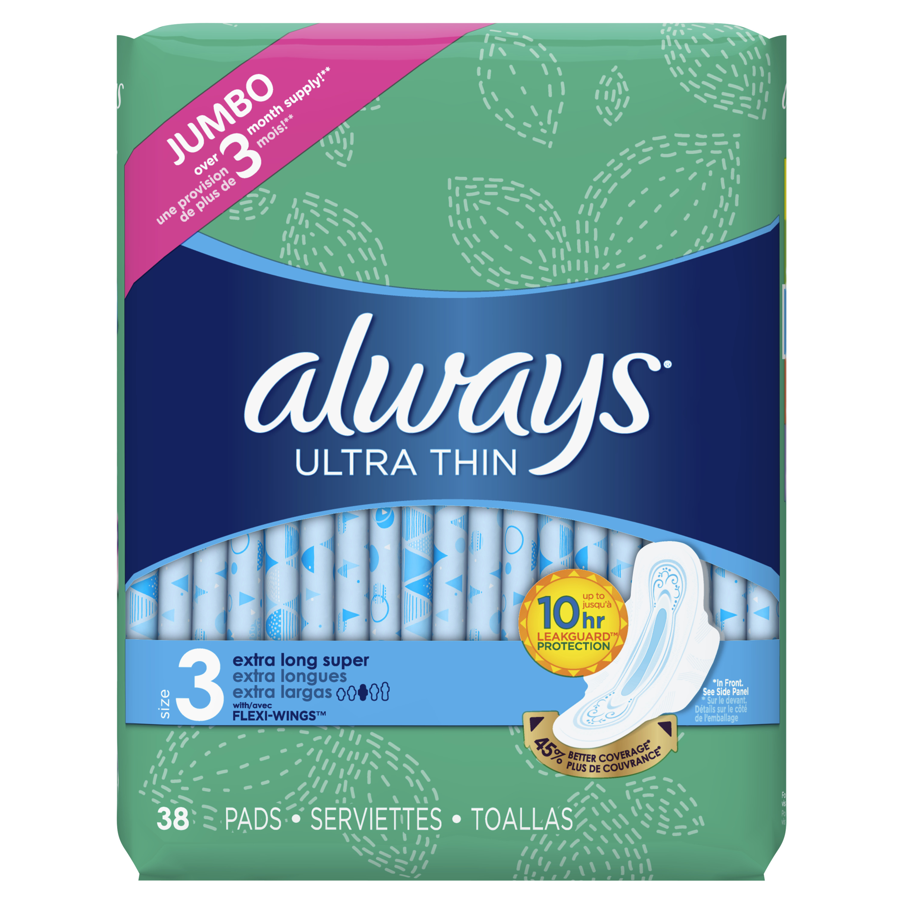 Always Ultra Thin, Size 3, Extra Long Super Pads With Wings, Unscented, 38 Count