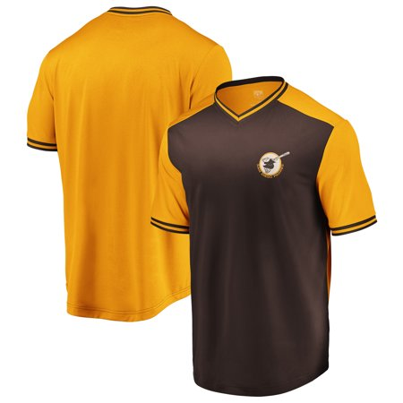 wholesale dealer 1b177 626f9 San Diego Padres Majestic Good Graces Cooperstown Collection V-Neck T-Shirt  - Brown/Gold