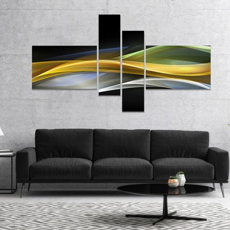 DESIGN ART Designart 'Gold Silver Straight Yellow Lines' Large abstract art 60 in. wide x 32 in. high - 4 - Straight Lines Design