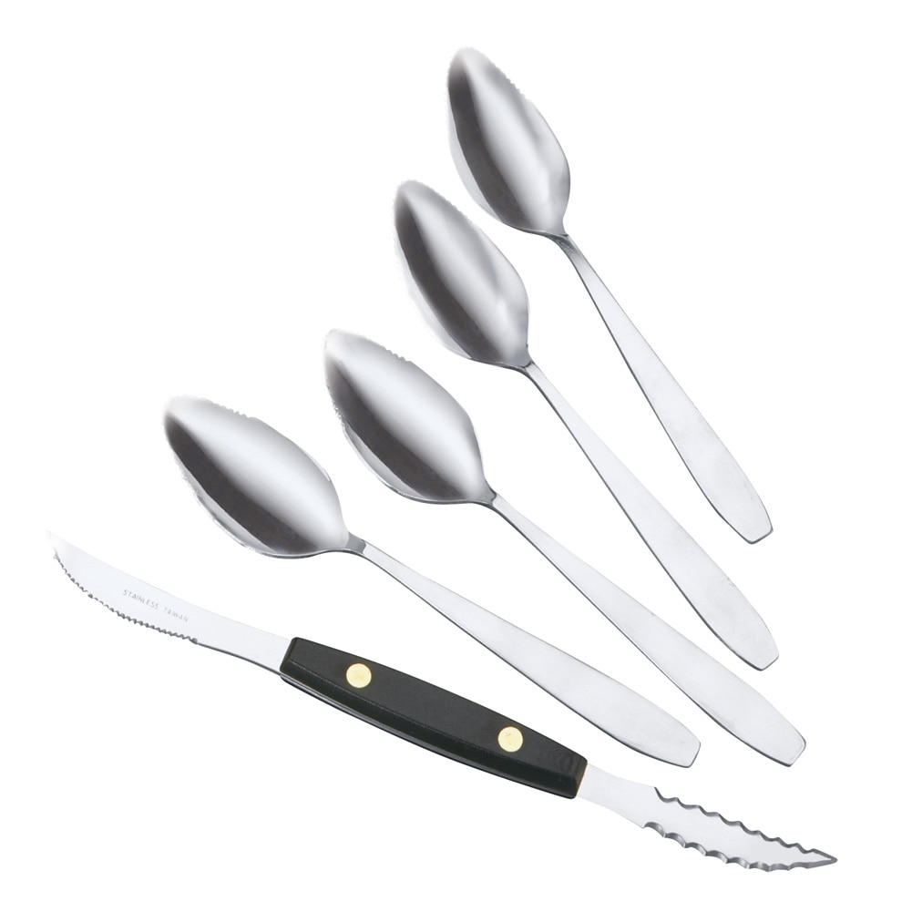 Grapefruit Cutting Utensils Set Of 5, Silver by Collections Etc